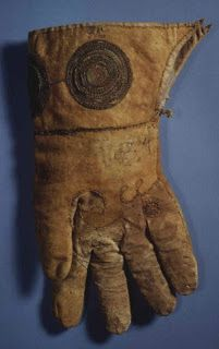 A hawking glove which is commonly believed to have been owned by Henry VIII. This glove is held at the Ashmolean Museum at the University of Oxford and is mentioned in the 1656 Tradescant catalogue.