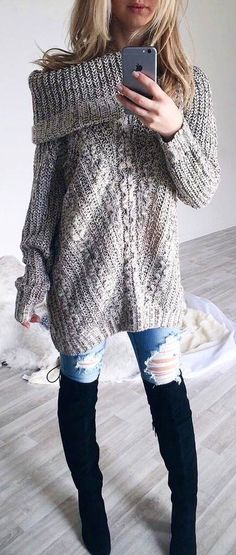 #winter #fashion / Off Shouder Knit + Ripped Jeans + Black OTK Boots