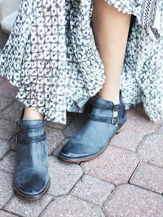 Braeburn Ankle Boot | Rugged leather ankle boots with cool open sides. Double ankle straps; adjustable, with brass buckles.