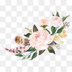 Acuarela de flores de color rosa sen departamento