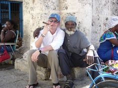 Old man and young man in Havana