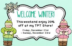 Last day of Welcome Winter Sale! Everything in my store in 20% off until midnight tonight :) by theautismhelper.com