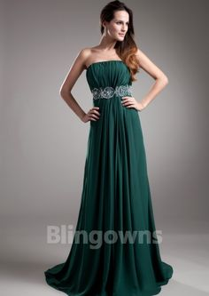 Sequins Sweep Zipper Strapless A-line Chiffon Sleeveless Evening / Prom Dresses