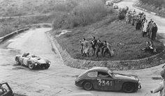 Alberto Ascari, Lancia D24, passing Brandoli-Claes, Marino Fiat, 1954 Mille Miglia