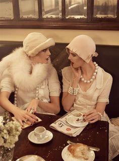 "Agyness Deyn and Guinevere van Seenus in ""Paris, Je T'aime"" photographed by Steven Meisel   Vogue US, September 2007"