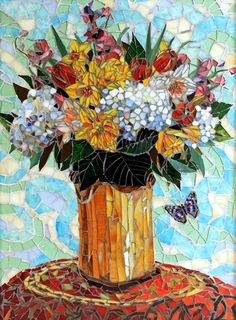 Showcase Mosaics Gallery of Floral Mosaic Art by Mosaic Artists Carl and Sandra Bryant.  Beautiful and intricate glass floral art for your home, business or public space.