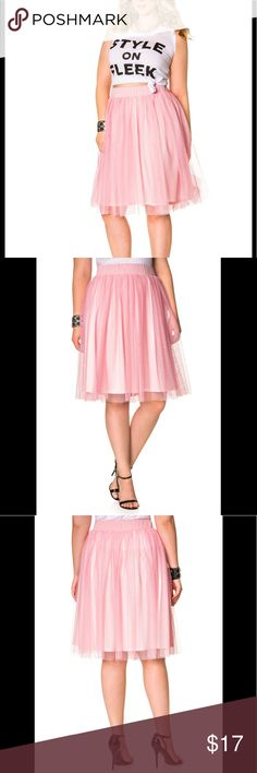"Pink Tulle Skirt How cute is this girlie little number?  Tulle skirt. Banded waist. Lined. Plus size 14/16 approx. measures 27"" in front with a 25"" lining. Machine wash. Polyester.  Pre-owned, mint condition Ashley Stewart Skirts Midi"
