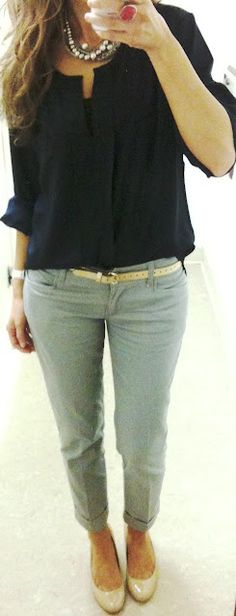 I love this whole outfit. Cute nude shoes, cropped pants and nice necklace layering.