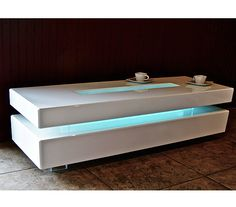 Acrylic coffee table white lighted modern by EMBebenArtStudio