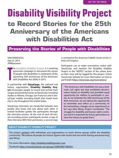 A yearlong project that encourages people to document stories of people with disabilities in celebration of the 25th Anniversary of the Americans with Disabilities Act  #autism #asperger's #specialneeds #disabilitiesact