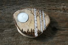 NEW Woodland Birch Trees Tealight Holder - Woodburning. $20.00, via Etsy.