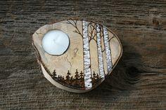 NEW Woodland Birch Trees Tealight Holder - Woodburning. $20.00, via Etsy.