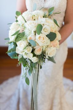 Love the ribbons on this blush, white + green bouquet! | blush pink, Charlotte wedding, Charlotte wedding vendors, Fall, Holiday, NC wedding, NC wedding vendors, bridal, bridalgown, details, dress, Dress details, gown, Wedding dress, Halloween wedding, white roses, bridal bouquet | Photographer @samanthal