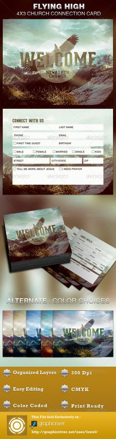 The Flying High Church Connection Card Template is great for any Church. It can be used to connect with your congregation, for decision card, attendance purposes or for surveys, etc. The layered Photoshop files are color coded and organized in folders for easy editing. The file also contains 7 – One Click Color options. $5.00