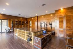 spacious and clean tack room
