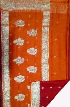 Red Handloom Banarasi Chiffon Saree