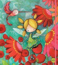 Little Flower Fairy Decoupage, Art Fantaisiste, Doodles, Children's Book Illustration, Whimsical Art, Painting For Kids, Oeuvre D'art, Cute Drawings, Folk Art