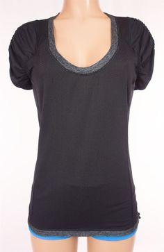 LULULEMON Short Sleeve Run Shirt 6 S Small Black Gray Gathered Shoulders Tee #Lululemon #ShirtsTops