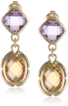 18K Gold Over Sterling Silver Citrine And Amethyst Earrings: Jewelry by french_violet