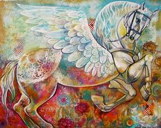 Wall Art / original painting / room decor / flying by tatianaflor, $600.00