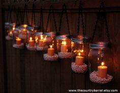 Love these! Mason Jar Lanterns Hanging Tea Light by TheCountryBarrel on Etsy