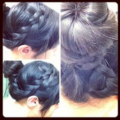 Up-do look. Bun with side swept bangs and a braid wrapped to the side and around bun. Cute for a casual look, I'm wearing this look to work.