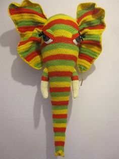 "Crochet Wool Mounted Stuffed Trophy Head ""RHUBARB"" Rainbow Elephant Wall Hanging"