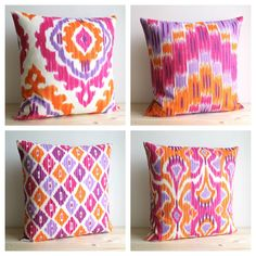 Orange and Pink Ikat Pillow Cover - 16 x 16 Ikat Cushion Cover - Ikat Zigzag Tangerine. $14.50, via Etsy.