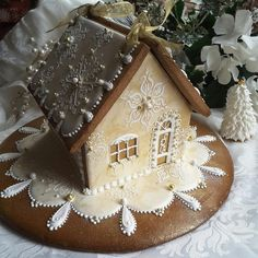 Gingerbread house in gold, snowflakes, and lace by Teri Pringle Wood