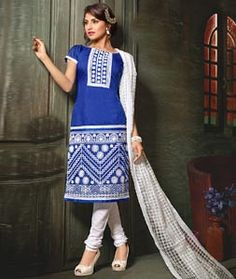 Buy Blue Chanderi Cotton Churidar Suit 73245 online at lowest price from huge collection of salwar kameez at Indianclothstore.com.