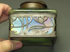 Prize Possession -- authentic PRE 1910 Art Nouveau Inkwell -- Marked Dep 10595 with iridescent green glass