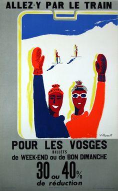 Allez y par le train pour les Vosges- France - 1954 - illustration de Bernard Villemot