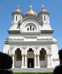 Front view of Eastern Orthodox cathedral in Galati, Romania.