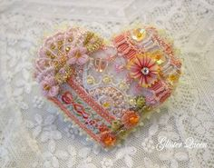 Dainty crazy quilt  beaded pin / brooch by GlosterQueen on Etsy