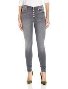 Hudson Jeans Women's Ciara High Rise Exposed Button Super Skinny Jeans, Face Off, 29 at Amazon Women's Jeans store