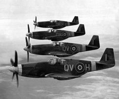 RAF Mustang Mk IIIs of No 19 Squadron based at Ford Sussex painted with white nose and wing stripes to prevent misidentification as Me 109s April 21 1944.