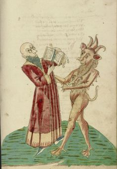 Theodas with the Book of Magic and the Devil, Alsatian, 1469.