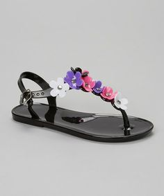 Loving this Black Flower T-Strap Jelly Sandal on #zulily! #zulilyfinds