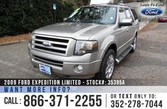 2009 Ford Expedition Limited - V8 5.4L Engine - Keypad Door Lock - Alloy Wheels - Tinted Windows - Fog Lights - Roof Racks - Running Boards - Hitch Receiver - Tow Hooks - Black Leather Interior - Safety Airbags - Powered Windows/Locks/Mirrors/Driver Seat/Passenger Seat - Seats 8 - AM/FM/CD/MP3 - Bluetooth - iPod/Aux/USB Ports - SYNC by Microsoft - Heated/Cooled Front Seats - HomeLink - Backup Camera - Cruise Control - Remote Keyless Entry - Digital Compass - Backup Sensors and more!
