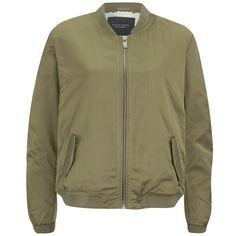 Maison Scotch Women's Sateen Bomber Jacket (15,525 INR) ❤ liked on Polyvore featuring outerwear, jackets, coats & jackets, green, metallic biker jacket, fleece lined jacket, bomber jacket, maison scotch jacket and green zipper jacket