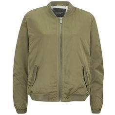 Maison Scotch Women's Sateen Bomber Jacket (£78) ❤ liked on Polyvore featuring outerwear, jackets, coats, chaquetas, coats & jackets, green, brown jacket, green jacket, maison scotch jacket and flight jacket