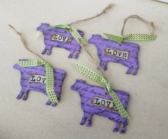 I created these lovely little wooden purple cow ornaments by hand painting, stamping and distressing them to give them a country antiqued look. The word LOVE has been decoupaged to the front and a green ribbon has been added for an accent. They are great to use as tags for gifts as well as ornaments! They measure 3 x 3.25 long. You will receive 4 for this Price. You can find more of my handmade items here https://www.etsy.com/shop/VeneciaArt?ref=hdr_shop_menu&section_id=11582432