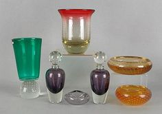 "Sold for $119 in 2012    Collection of Erickson art glass, seven pcs., tallest -10 1/2"". Provenance: the Collection of Charlene Sussel, Garrett Park, Maryland."