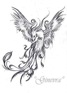 Phoenix rising tattoo design