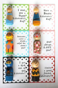 Lorax Inspired Wood Peg Doll Valentine. $ 10.00, via Etsy.