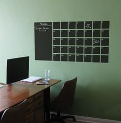 A Chalkboard Calender Wall Decal with Extra Note Panel. $55.00, via Etsy.