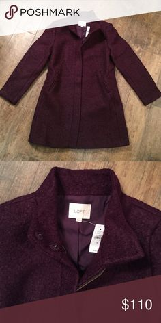 *NWT* LOFT purple funnel neck coat This beautiful egg plant colored jacket will keep you warm and stylish. Lined. Shell is 50% wool, 50% polyester. LOFT Jackets & Coats