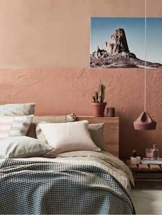 The Bedroom Revamp // Terracotta lamp in peach coloured bedroom with blue landscape imagery. Modern Master Bedroom, Modern Room, Home Bedroom, Bedroom Ideas, Bedrooms, Peach Rooms, Peach Bedroom, Salmon Bedroom, Rustic Bedroom Design