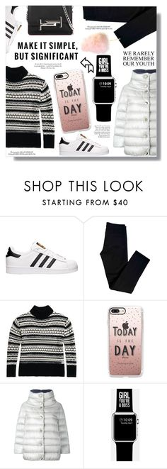 """Casual"" by sans-moderation ❤ liked on Polyvore featuring adidas, J Brand, Casetify, Herno and Tod's"