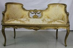 Antique French Rococo Style Gilt Wood Settee : Lot 173